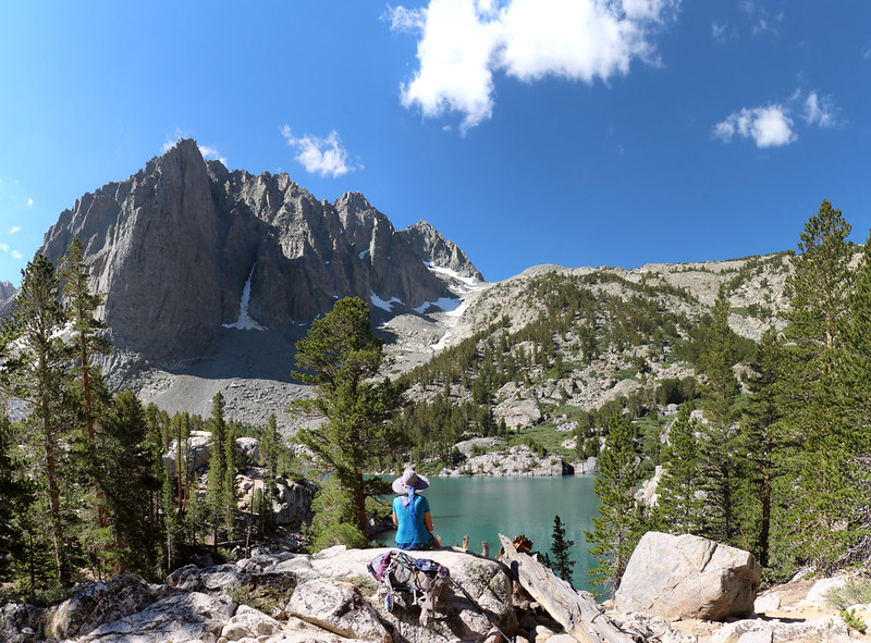 Vicki taking a break above Third Lake with Temple Crag on the left, from the NF Big Pine Creek Trail