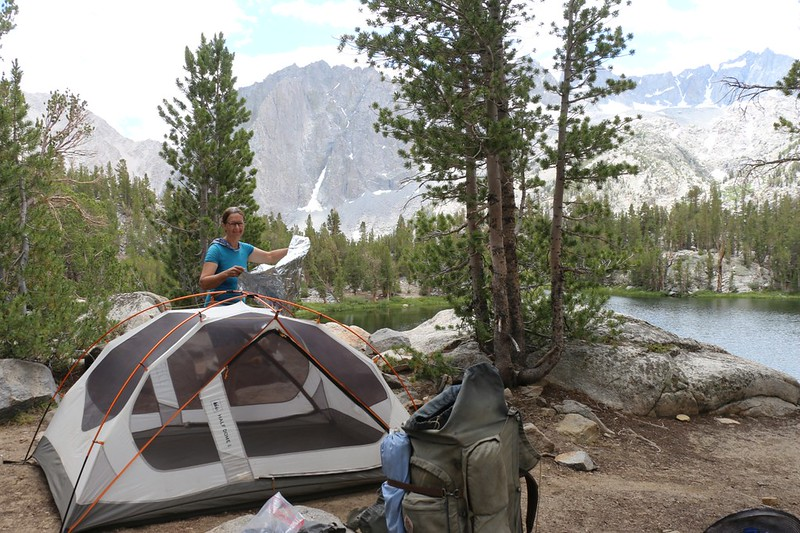 Setting up our tent at our base camp above Fourth Lake - we would stay here three nights