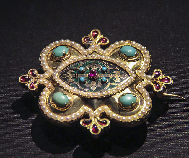 Brooch, England, Birmingham, 1848, designed by A.W.N. Pugin, made by John Hardman&Co., Enamelled gold set with a ruby, cabochon garnets, turquoises and pearls