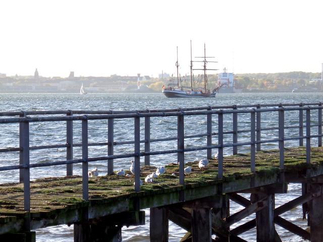 alter Steg und ein altes Segelschiff auf der Kieler Förde am Sonntag im Oktober