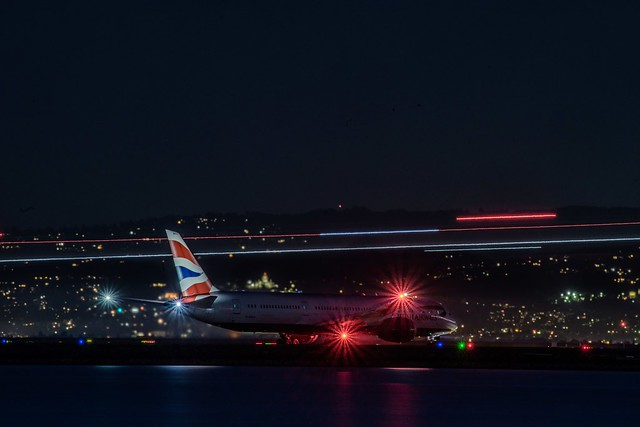 a british airways 787 holds for departure to heathrow