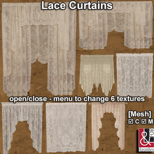 Simple Lace Curtains open-close PIC