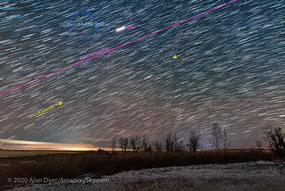 String of Flaring Geosats (Annotated) | by Amazing Sky Photography