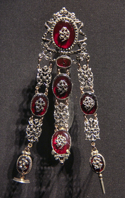 Chatelaine, Switzerland, about 1780, Silver and gold with red glass and marcasite