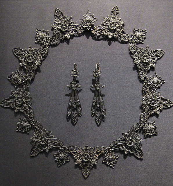 Earrings and necklace, probably Germany (Prussia), 1820-30, cast iron