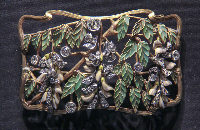 Plaque from a 'dog-collar' necklace, France, about 1900, Enamelled gold and diamonds set in silver