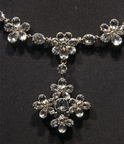Detail - Necklace and Pendant cross, England, about 1810, Brilliant-cut paste (glass) set in silver, backed with gold