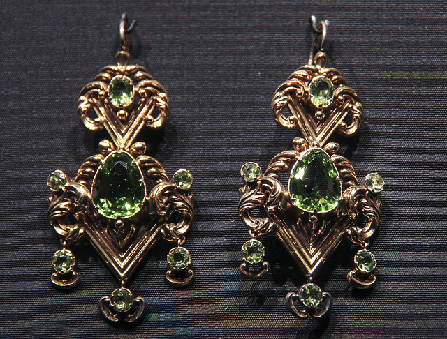 Earrings, England, about 1835, stamped gold, set with peridots