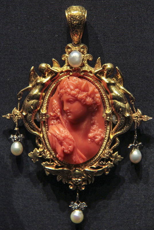 Pendant with figure of Bacchus, France, Paris, 1854, made by Francois-Desire Froment-Meurice, coral and gold with rose-cut diamonds and pendant pearls