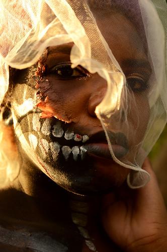 shanicejanellemodel costume okc oklahomacity bluffcreek bluffcreektrails halloween mixer photoshoot skull facepaint makeup sunset veil