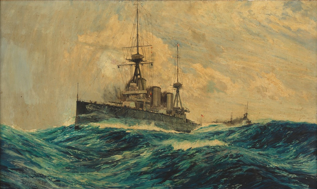 HMAS Australia painted by Charles Edward Dixon, 1913