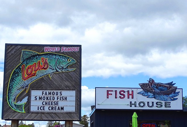 MN, Two Harbors-MN 61 Lou's Fish House Neon Sign
