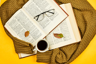 Overhead view of opened books on knitted sweater and coffee mug | by wuestenigel