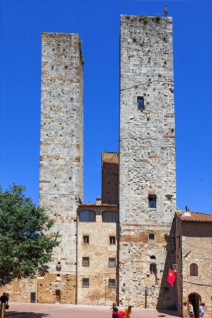 Towers in the Tuscan hilltop town of San Gimignano, one with a Gormley statue on top (EXPLORED)