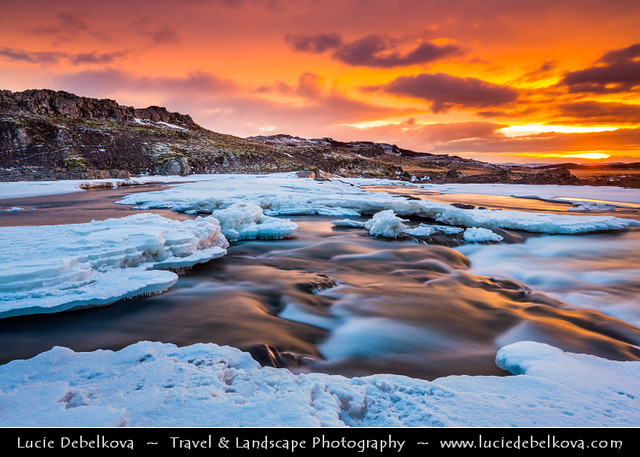 Iceland - Borgarfjörður - Fossatún at Dramatic Sunset
