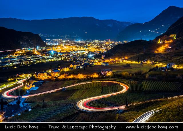 Italy - Alps - South Tyrol - Bolzano valley basin - Curvey Road through Vineyards at Night