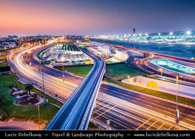 United Arab Emirates - UAE - Dubai - Dubai Airport Area Road at Dusk - Twilight - Blue Hour - Night