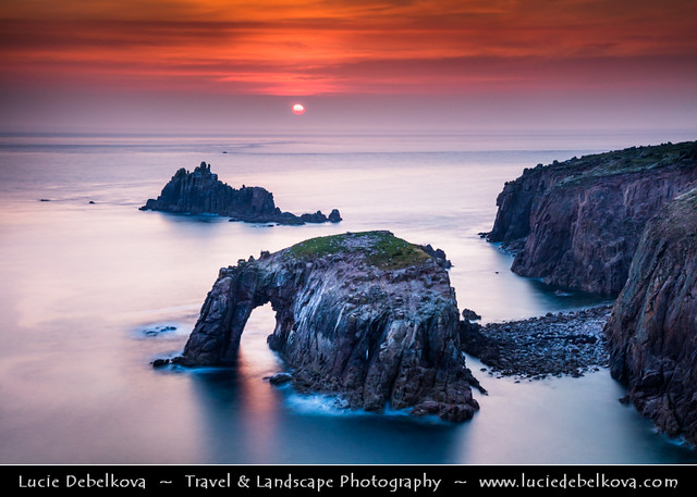 UK - England - Cornwall - Land's End - Iconic rocky arch at Sunset