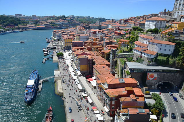 Restaurants by the river, Porto, Portugal