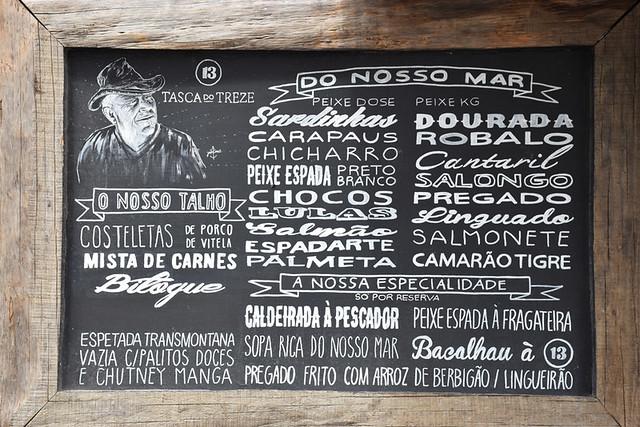 Portuguese menu, Sesimbra, Portugal