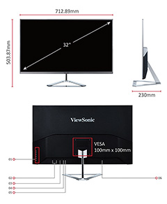 "The ViewSonic VX3276-2K-MHD 32"" WQHD IPS monitor weighs 6.17kg (13.6 lb)."