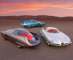 The Alfa Romeo Bertone B.A.T. 5, 7 & 9 (from 1953, '54, and '55) are being sold together at an auction on October 28th in NYC. 📷: Ron Kimball © 2020 RM Sothebys https://rmsothebys.com/en/auctions/so20 #cardesign #bertone #carhistory #clas