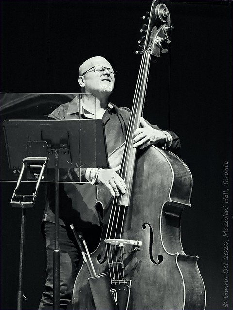 George Koller with bass and protection (Fern Lindzon). Mazzoleni Hall, Oct 2020.