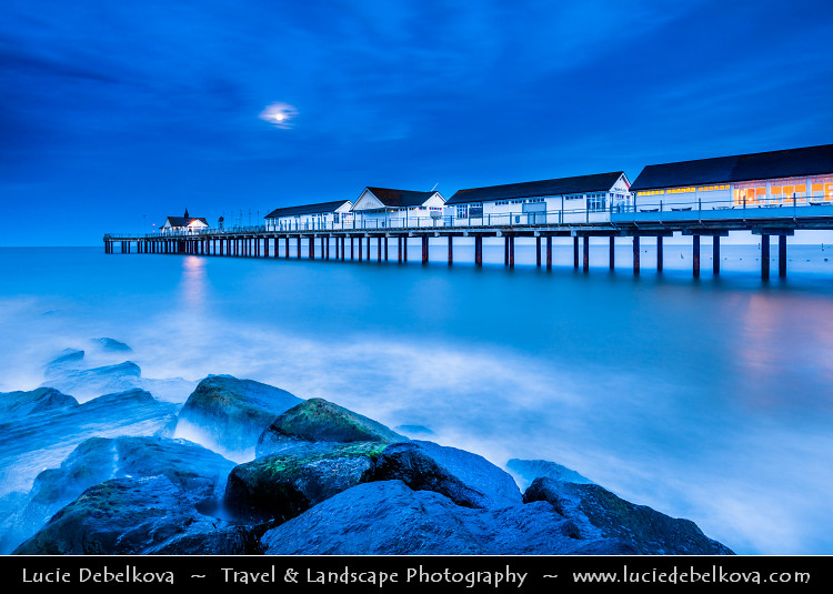 UK - England - East Anglia - Suffolk - Southwold Pier during Dusk, Twilight, Blue Hour, Night with Full Moon