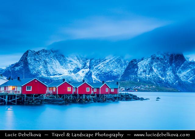 Norway - North of the Arctic Circle - Lofoten Island - Moskenes - Hamnoy at Dusk - Twilight - Blue Hour - Night
