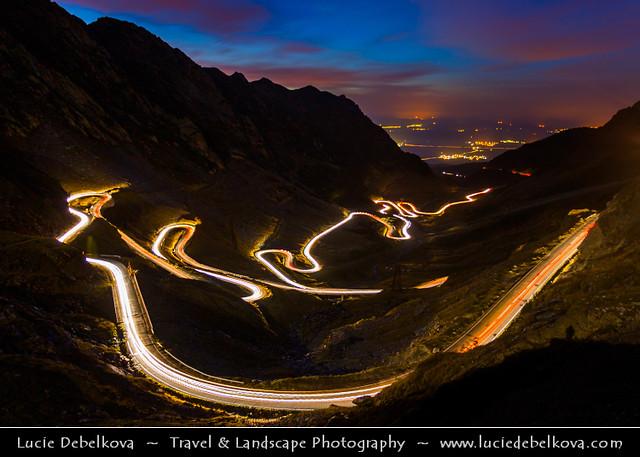Romania - Transfagarasan Highway - Transfăgărășan at  Twilight - Blue Hour - Night