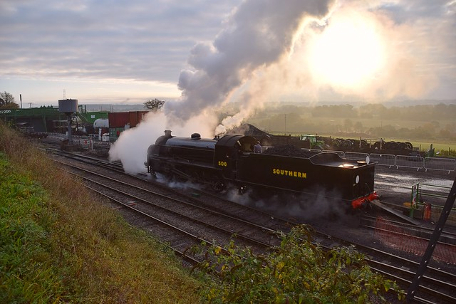 LSWR S15 No.506 on an early morning positioning move at Ropley Loco Yard. Mid Hants Railway Autumn Steam Gala. 18 10 2020