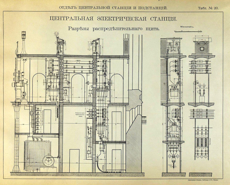 21. Центральная электрическая станция. Разрез распределительного щита