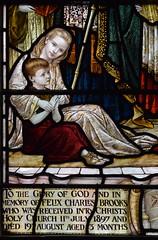 Bapistery glass detail: two Brooks children (Powell & Sons, 1899)