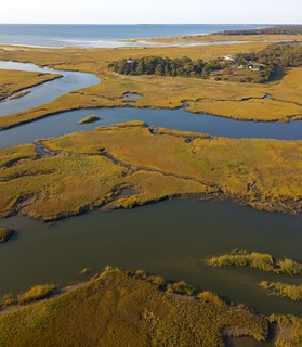 Drone photo of Boat Meadow Marsh looking toward First Encounter Beach and Cape Cod Bay