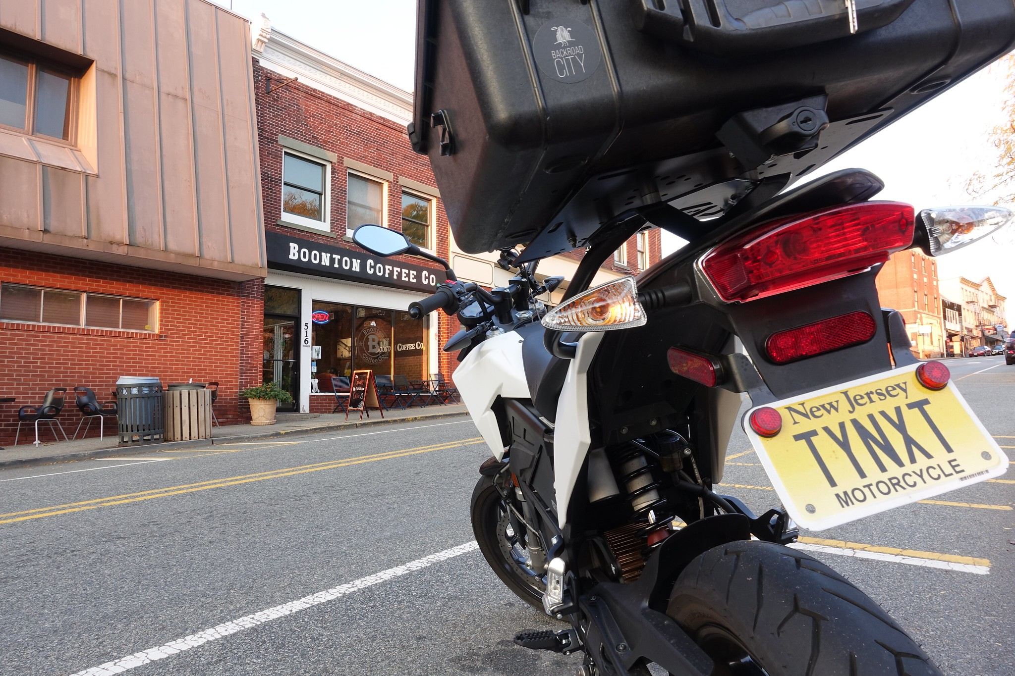 Motorcycle parked at Boonton Coffee