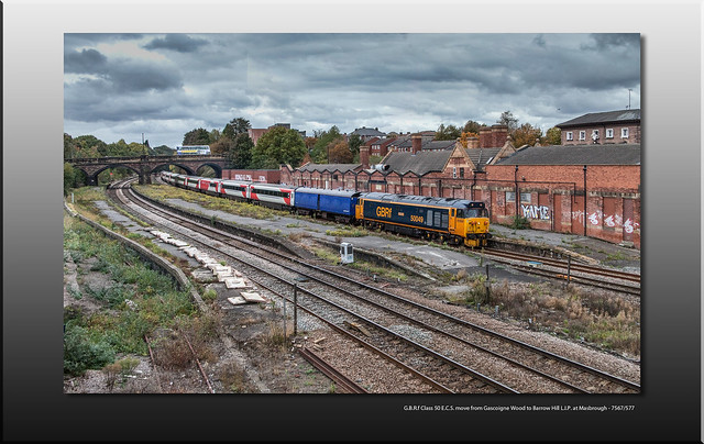 G.B.R.f Class 50 E.C.S. move from Gascoigne Wood to Barrow Hill L.I.P. at Masbrough - 7567/577