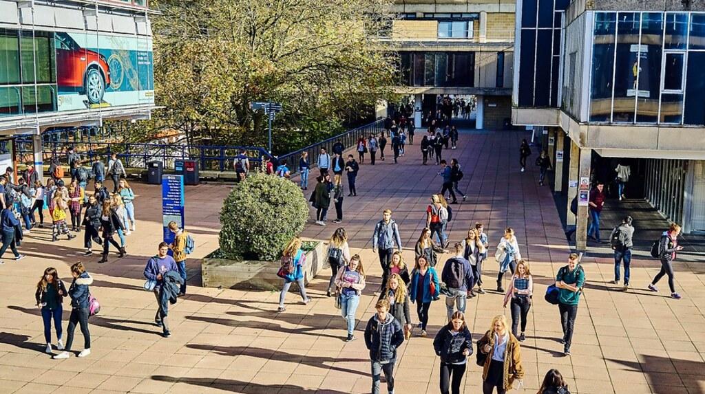 学生们在图书馆外游行