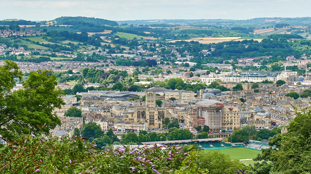 A view looking over the city of Bath