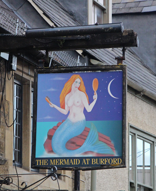 English Pub Sign - the Mermaid, at Burford in the Cottswolds
