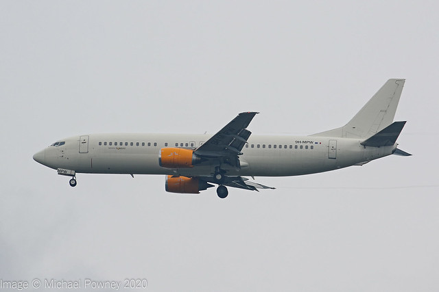 9H-MPW - 1991 build Boeing B737-484, on approach to Runway 23R at Manchester