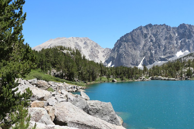 Heading back to the Fifth Lake Trail, with Temple Crag on the right