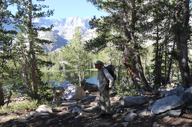 Me carrying Vicki's almost-empty pack as we begin our dayhike to many of the surrounding lakes in the basin