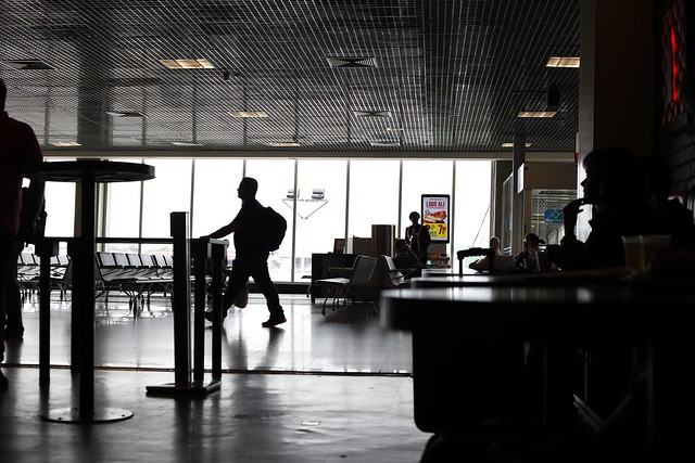 Silhouetes in airport