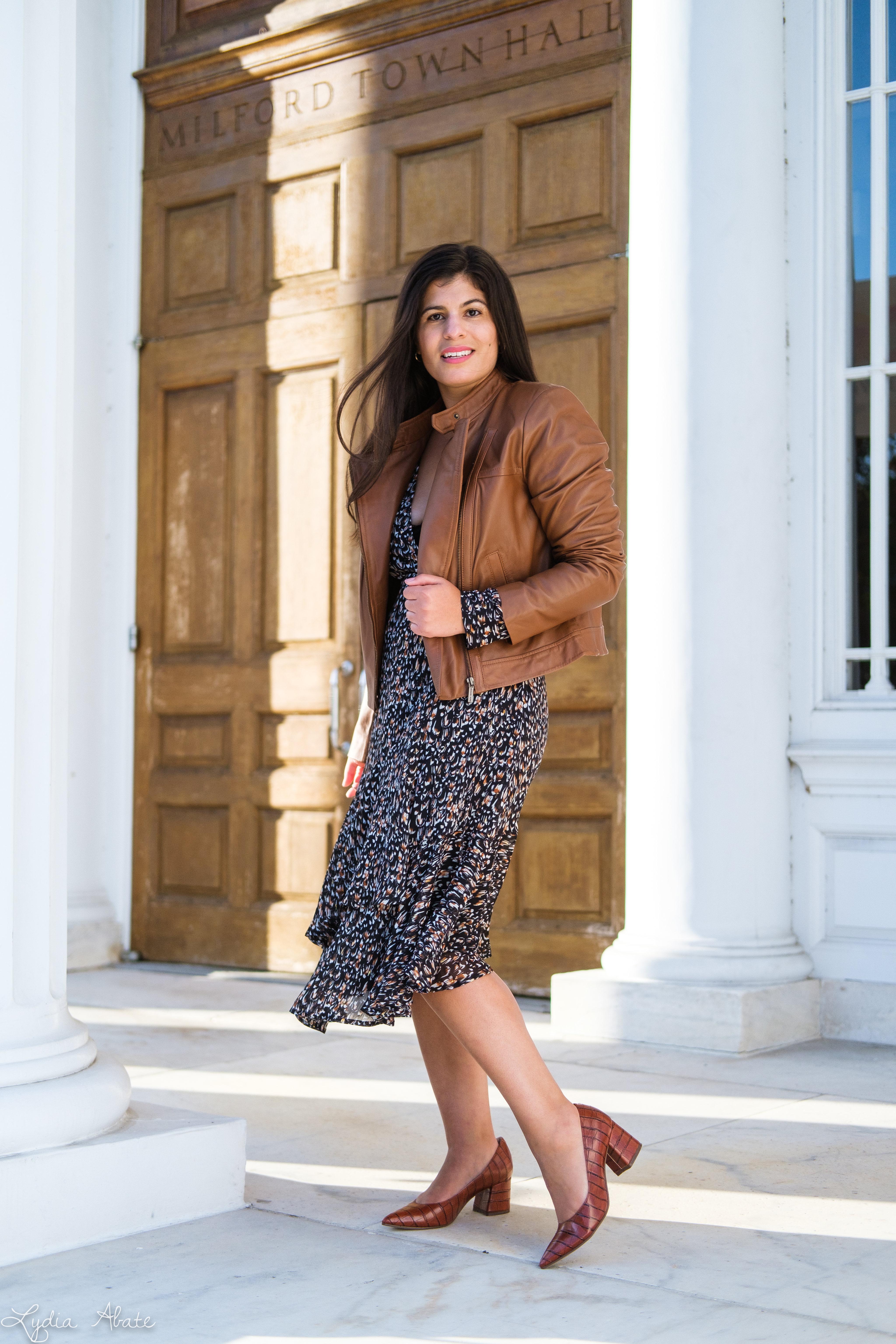 long sleeve wrap dress, brown leather jacket, croc pumps-3.jpg