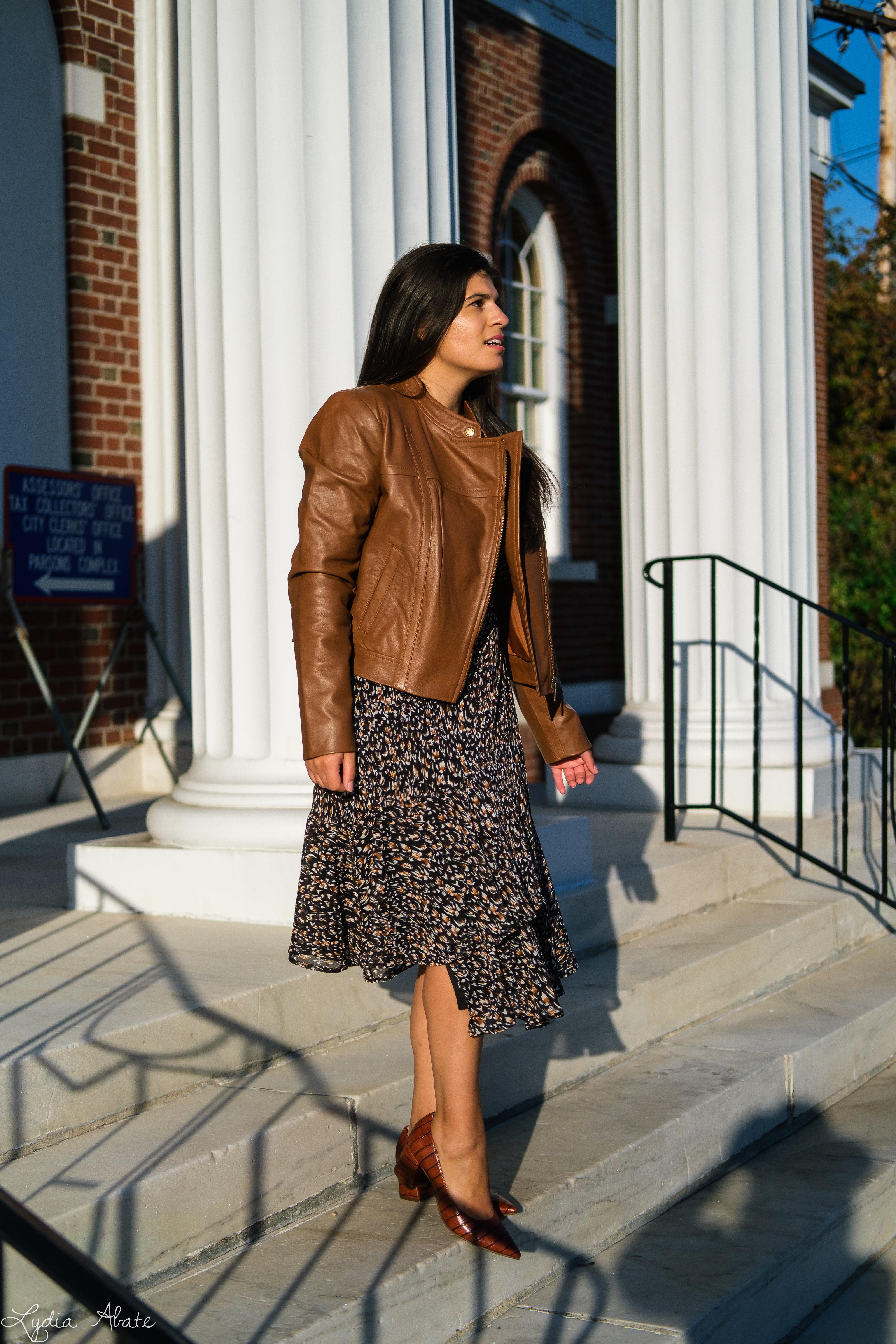 long sleeve wrap dress, brown leather jacket, croc pumps-4.jpg