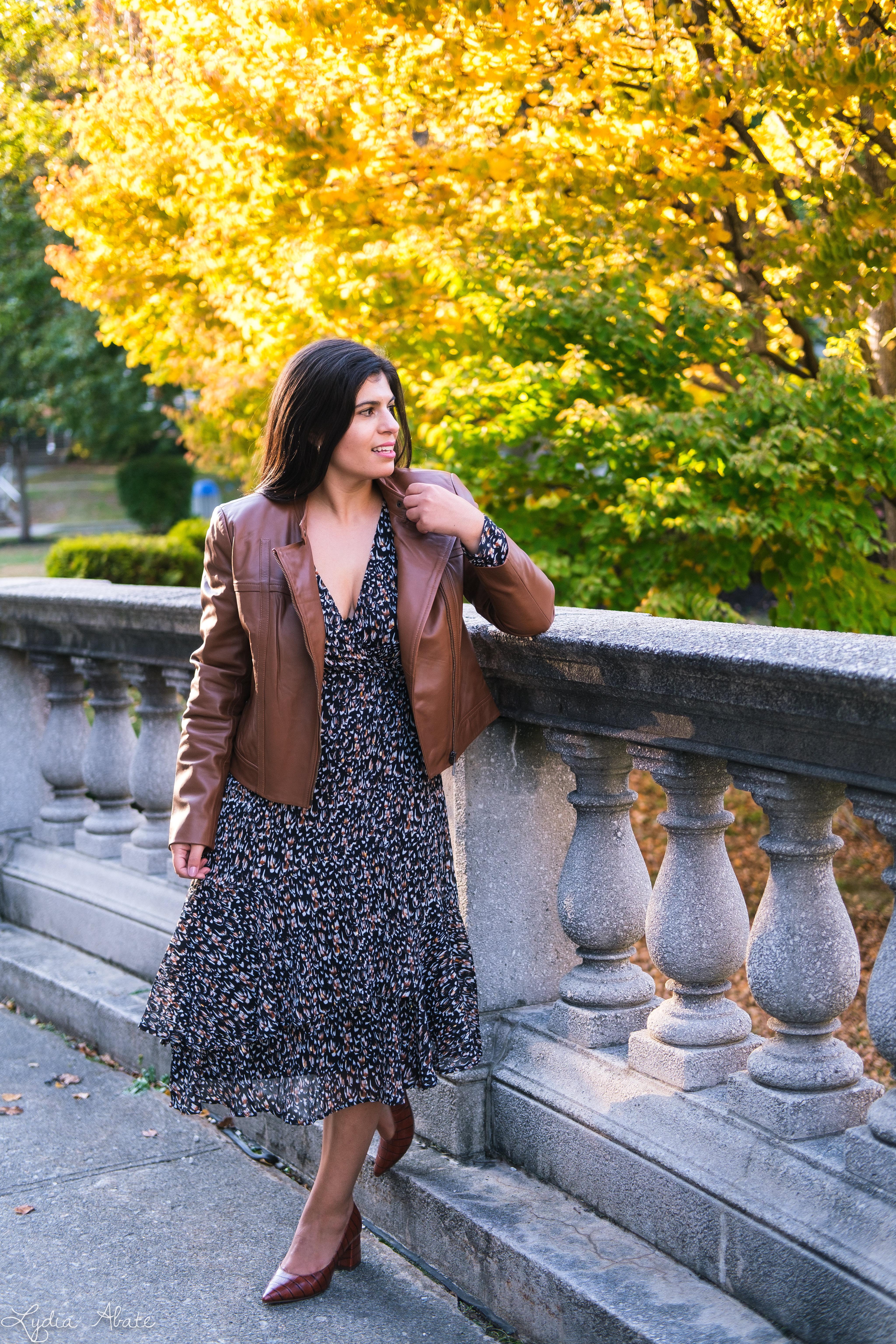 long sleeve wrap dress, brown leather jacket, croc pumps-8.jpg
