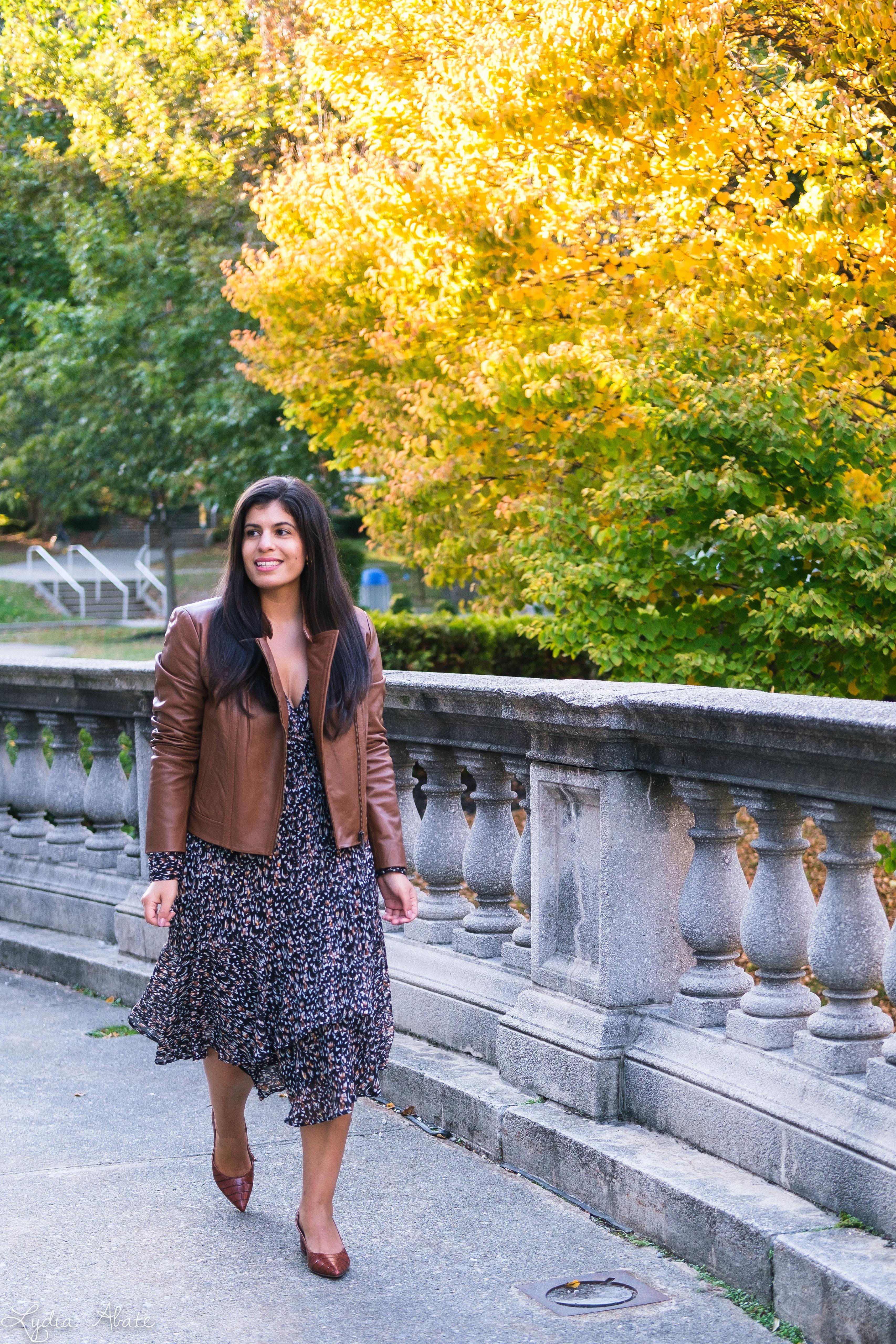 long sleeve wrap dress, brown leather jacket, croc pumps-11.jpg