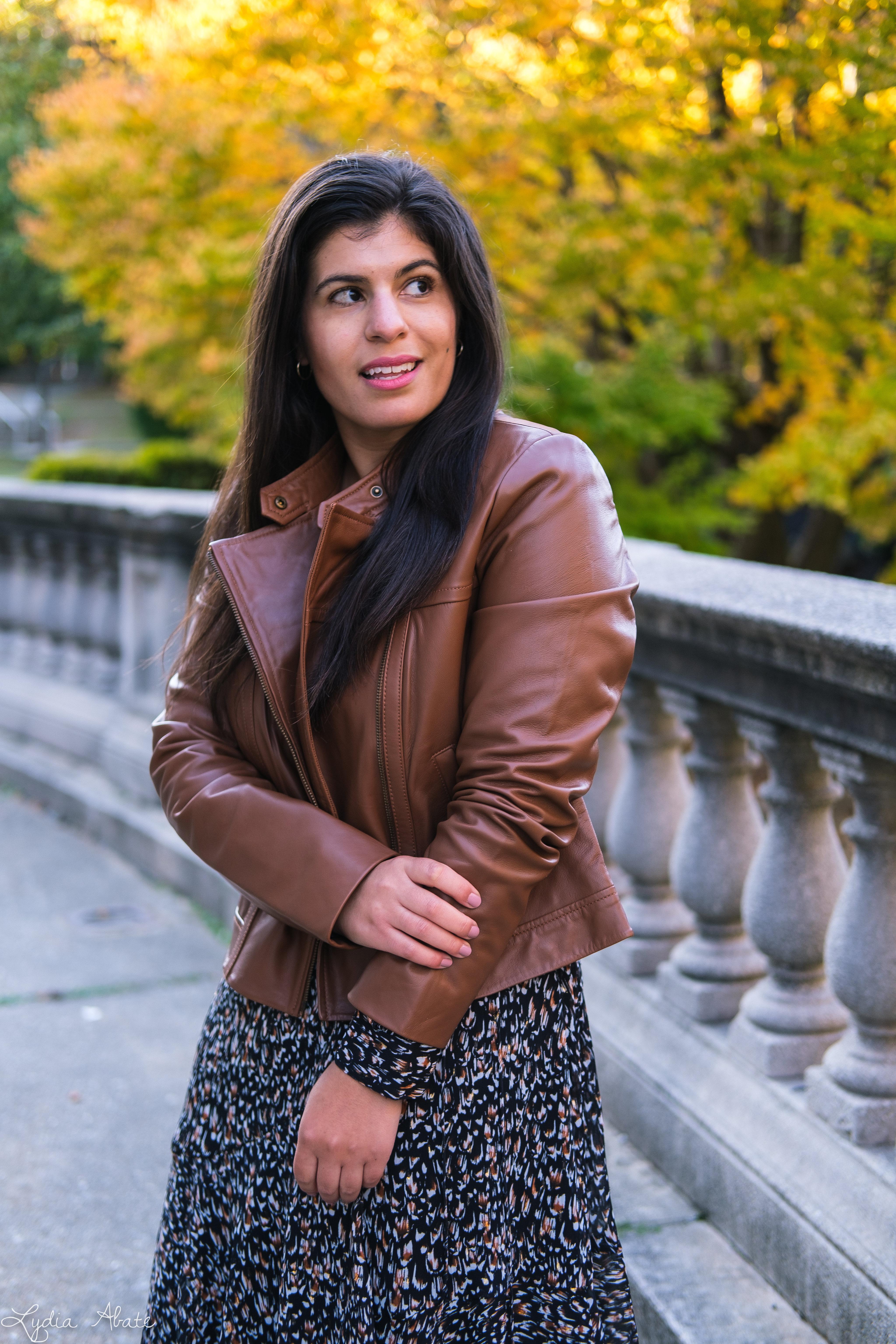 long sleeve wrap dress, brown leather jacket, croc pumps-14.jpg
