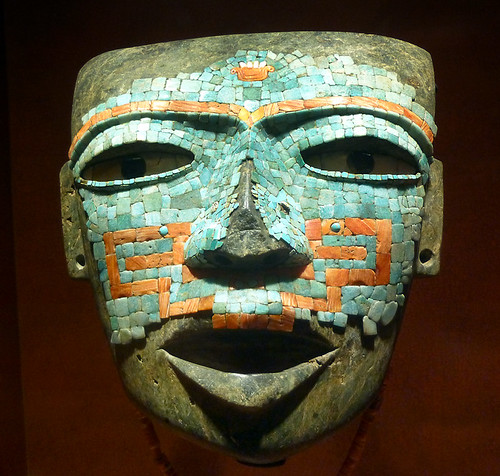 Turquoise and coral inlaid mask from the Meso-American city of Teotihuacan at the Museum of Anthropology in Mexico City