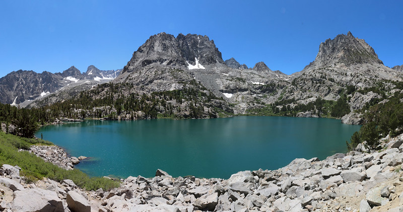 Panorama view over Fifth Lake with Temple Crag, Gayley, Sill, Robinson, Agassiz, Aperture, and Two Eagle Peak
